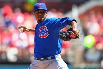 ST. LOUIS, MO - AUGUST 11: Starter Edwin Jackson #36 of the Chicago Cubs pitches against the St. Louis Cardinals at Busch Stadium on August 11, 2013 in St. Louis, Missouri.  (Photo by Dilip Vishwanat/Getty Images) By Dilip Vishwanat