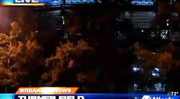 Upper-deck can be seen in upper portion of this image of Turner Field in Atlanta. A man fell to his death from that deck on Aug. 13, 2013. Police say it appears to have been an accident. / WGCL-TV By Brendan Marks