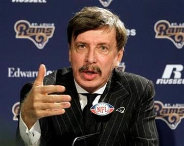 St. Louis Rams owner Stan Kroenke speaks during a news conference where Jeff Fisher was officially introduced as the new head football coach of the St. Louis Rams NFL team, in St. Louis, Tuesday, Jan. 16, 2012. (AP Photo/Tom Gannam) By Tom Gannam