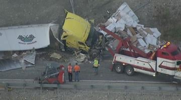 Several lanes were closed on Interstate 44 after a semi-truck was involved in a rollover wreck in St. Louis County Wednesday morning. By Belo Content KMOV