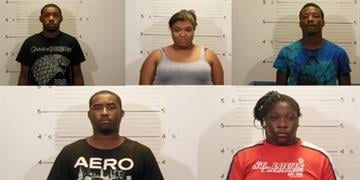 Daryl Jones, 18, of Farview Heights, Kaityln Fultz, 18, and Traseana Parks, 17, of Swansea, Deontre Samuels, 20, of O'Fallon, and Shay Bennett, 24, of East St. Louis are charged with robbery. By KMOV Web Producer