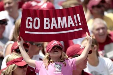 TUSCALOOSA, AL - APRIL 17: One of the 96,000 Alabama Crimson Tide fans that attended the Alabama spring football game at Bryant Denny Stadium on April 17, 2010 in Tuscaloosa, Alabama. (Photo by Dave Martin/Getty Images) By Getty