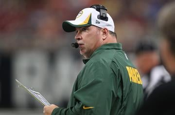 Green Bay Packers head football coach Mike McCarthy watches the action against the St. Louis Rams in their pre season game at the Edward Jones Dome in St. Louis on August 17, 2013.   UPI/Bill Greenblatt By BILL GREENBLATT