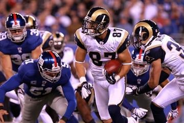 EAST RUTHERFORD, NJ - SEPTEMBER 19:  Greg Salas #87 of the St. Louis Rams runs for yards after the catch against the New York Giants at MetLife Stadium on September 19, 2011 in East Rutherford, New Jersey.  (Photo by Nick Laham/Getty Images) By Nick Laham