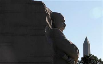 The Washington Monument is see  at right as the Martin Luther King, Jr. Memorial is seen ahead of its dedication this weekend, Monday, Aug. 22, 2011, in Washington. (AP Photo/Charles Dharapak) By Charles Dharapak