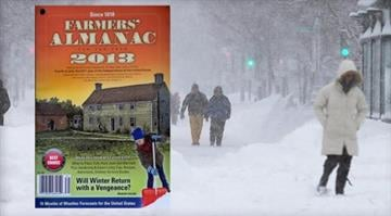 """This composite photo shows the 2013 edition of the """"The Farmers' Almanac"""" superimposed over people walking in Boston on February 9, 2013, during a blizzard. / CBS NEWS/GETTY IMAGES/AP By Belo Content KMOV"""