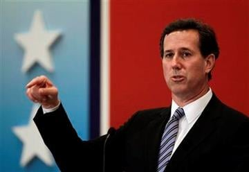 Republican presidential candidate, former Pennsylvania Sen. Rick Santorum speaks at a Latin Builders Association luncheon in Miami, Friday, Jan. 27, 2012.  (AP Photo/Paul Sancya) By Paul Sancya