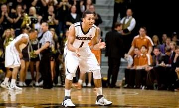 Missouri's Phil Pressey, center, celebrates after he scoring during the second half of an NCAA college basketball game against Texas Saturday, Jan. 14, 2012, in Columbia, Mo. Missouri won the game 84-73. (AP Photo/L.G. Patterson) By L.G. PATTERSON