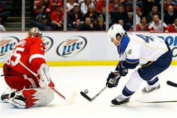 Detroit Red Wings goalie Jimmy Howard (35) makes a save on St. Louis Blues center Jason Arnott (44) in the first period of an NHL hockey game in Detroit, Saturday, Dec. 31, 2011. (AP Photo/Rick Osentoski) By Rick Osentoski