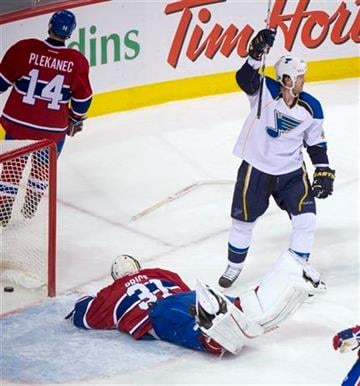 St. Louis Blues' Jason Arnott celebrates his goal against Montreal Canadiens goalie Carey Price during second period NHL hockey action, Tuesday, Jan. 10, 2012 in Montreal. (AP Photo/The Canadian Press, Paul Chiasson) By Paul Chiasson