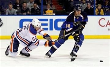 Edmonton Oilers' Teemu Hartikainen, of Finland, and St. Louis Blues' Jason Arnott, right, chase after a loose puck during the first period of an NHL hockey game, Thursday, Jan. 5, 2012, in St. Louis. (AP Photo/Jeff Roberson) By Jeff Roberson