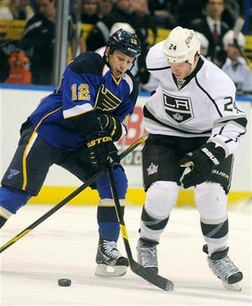 St. Louis Blues' Scott Nichol (12) and Los Angeles Kings' Colin Fraser (24) battle for a loose puck in the first period of an NHL hockey game on Friday, Feb. 3, 2012, in St. Louis. (AP Photo/Bill Boyce) By Bill Boyce