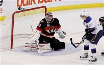 St. Louis Blues' David Perron (57) scores on Ottawa Senators Alex Auld (35) during the second period of an NHL hockey game in Ottawa, Ontario, on Tuesday, Feb. 7, 2012. (AP Photo/The Canadian Press, Fred Chartrand) By Fred Chartrand