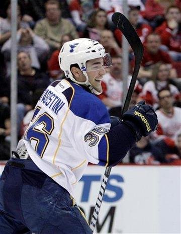 St. Louis Blues right wing Matt D'Agostini celebrates his goal during the first period of an NHL hockey game against the Detroit Red Wings in Detroit, Tuesday, Dec. 27, 2011. (AP Photo/Carlos Osorio) By Carlos Osorio