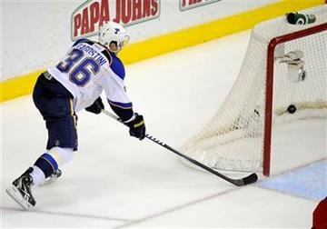 St. Louis Blues right wing Matt D'Agostini (36) scores a goal against the Washington Capitals during the second period of an NHL hockey game, Tuesday, Nov. 29, 2011, in Washington. (AP Photo/Nick Wass) By Nick Wass