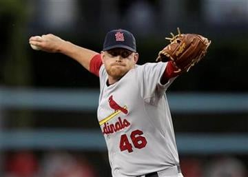 St. Louis Cardinals relief pitcher Kyle McClellan throws against the Los Angeles Dodgers during the first inning of a baseball game in Los Angeles, Saturday, April 16, 2011. (AP Photo/Jae C. Hong) By Jae C. Hong
