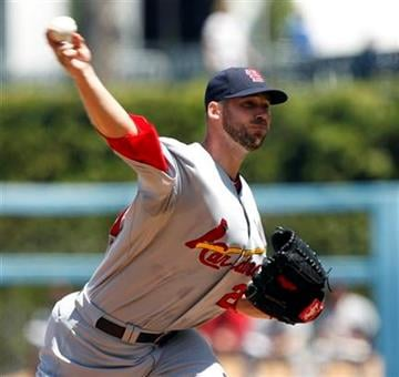 St. Louis Cardinals starting pitcher Chris Carpenter pitches against the Los Angeles Dodgers during the first inning of a major league baseball game in Los Angeles, Sunday, April 17, 2011. (AP Photo/Alex Gallardo) By Alex Gallardo