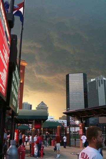View of the sky at Busch Stadium before the storms hit. By Afton Spriggs
