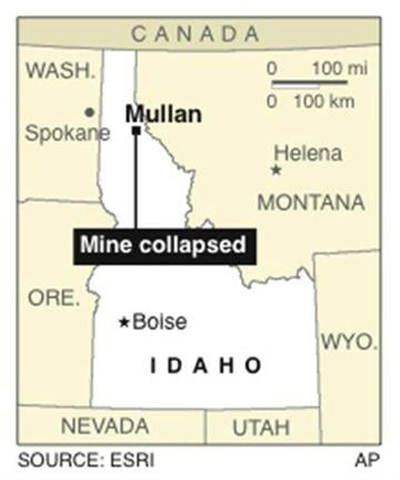 Map locates Mullan, Idaho, where a silver mine has collapsed By J. Bell