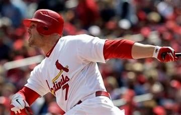 St. Louis Cardinals' Matt Holliday hits a two-run home run during the first inning of a baseball game against the Washington Nationals Thursday, April 21, 2011, in St. Louis. (AP Photo/Jeff Roberson) By Jeff Roberson