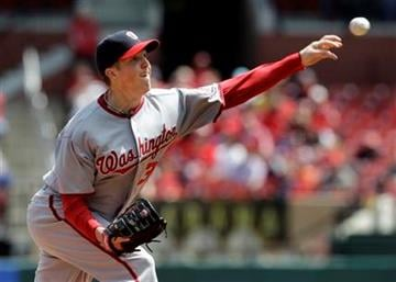 Washington Nationals starting pitcher Tom Gorzelanny throws during the first inning of a baseball game against the St. Louis Cardinals Thursday, April 21, 2011, in St. Louis. (AP Photo/Jeff Roberson) By Jeff Roberson