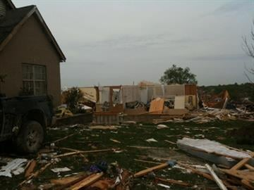 Tornado damage on Beaverton Drive in Bridgeton, Missouri By Afton Spriggs