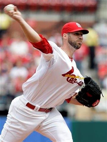 St. Louis Cardinals starting pitcher Chris Carpenter (29) delivers in the first inning of a baseball game against the Cincinnati Reds, Saturday, April 23, 2011, in St. Louis. (AP Photo/Tom Gannam) By Tom Gannam