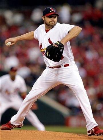 St. Louis Cardinals starting pitcher Jake Westbrook works in the first inning of a baseball game against the Cincinnati Reds, Sunday, April 24, 2011 in St. Louis. (AP Photo/Tom Gannam) By Tom Gannam