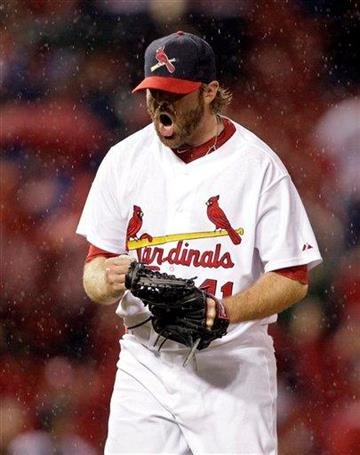 St. Louis Cardinals relief pitcher Mitchell Boggs celebrates after finishing off the Cincinnati Reds in the ninth inning of a baseball game, Sunday, April 24, 2011 in St. Louis. St. Louis beat the Reds 3-0. (AP Photo/Tom Gannam) By Tom Gannam