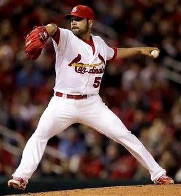 St. Louis Cardinals starting pitcher Jaime Garcia throws during the fourth inning of the second baseball game of a doubleheader against the Washington Nationals, Wednesday, April 20, 2011, in St. Louis. (AP Photo/Jeff Roberson) By Jeff Roberson