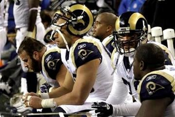 St. Louis Rams players on the bench at the end of the second half of an NFL football game against the Seattle Seahawks, Sunday, Jan. 2, 2011, in Seattle. (AP Photo/Ted S. Warren) By Ted S. Warren