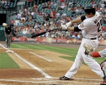 Houston Astros' Brett Wallace hits a double to center field against the St. Louis Cardinals in the second inning of a baseball game Thursday, April 28, 2011, in Houston. (AP Photo/Pat Sullivan) By Pat Sullivan