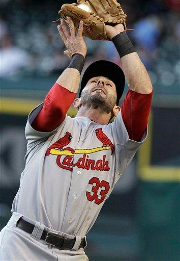 St. Louis Cardinals second baseman Daniel Descalo makes the catch for the out on Houston Astros' Carlos Lee in the first inning of a baseball game Thursday, April 28, 2011, in Houston. (AP Photo/Pat Sullivan) By Pat Sullivan