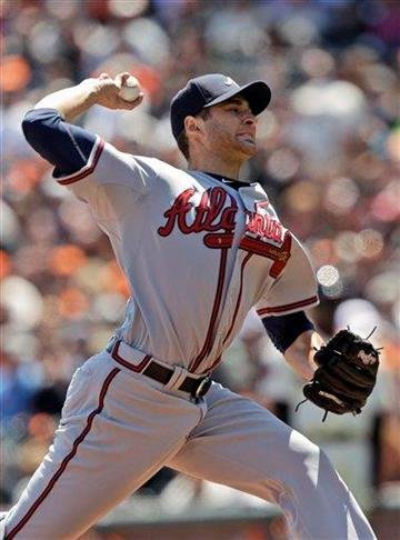 Atlanta Braves starting pitcher Brandon Beachy throws to the San Francisco Giants during the first inning of a baseball game in San Francisco, Sunday, April 24, 2011. (AP Photo/Marcio Jose Sanchez) By Marcio Jose Sanchez
