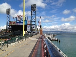McCovey Cove beyond right field stands. This is without question the coolest park in baseball, especially when it's not raining. Still sunny and nice at 3:00p central time. By Bryce Moore