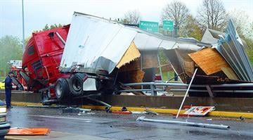 Tractor Trailer crash on Interstate 70 in downtown St. Louis at the Arch Grounds. By Bryce Moore