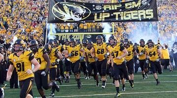 The Missouri Tigers take to the field for a game against the Georgia Bulldogs at Faurot Field in Columbia, Missouri on September 8, 2012. This game marks the first for Missouri as a member of the SEC Conference. By Bryce Moore