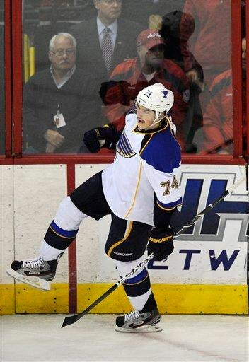 St. Louis Blues center T.J. Oshie (74) celebrates his goal against the Washington Capitals during the first period of an NHL hockey game, Tuesday, Nov. 29, 2011, in Washington. (AP Photo/Nick Wass) By Nick Wass