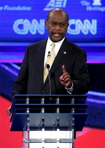 Republican presidential candidate businessman Herman Cain speaks during a Republican presidential debate in Washington, Tuesday, Nov. 22, 2011. (AP Photo/Evan Vucci) By Evan Vucci