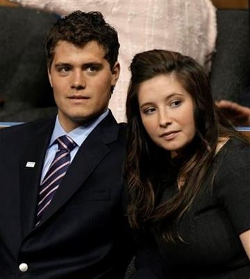 Bristol Palin, right, daughter of Republican vice presidential candidate Sarah Palin, is seen with her boyfriend Levi Johnston at the Republican National Convention in St. Paul, Minn., Wednesday, Sept. 3, 2008. (AP Photo/Paul Sancya) By Paul Sancya