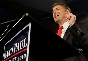 Kentucky Republican Sen.-elect Rand Paul address supporters at his victory party in Bowling Green, Ky., Tuesday, Nov. 2, 2010.  (AP Photo/Ed Reinke) By Ed Reinke