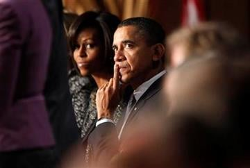 President Barack Obama and first lady Michelle Obama attend the National Prayer Breakfast in Washington, Thursday, Feb. 3, 2011. (AP Photo/Charles Dharapak) By Charles Dharapak
