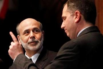 Federal Reserve Chairman Ben Bernanke, left, is asked a question by National Press Club president President Mark Hamrick, Thursday, Feb. 3, 2011, at the National Press Club in Washington. (AP Photo/Jacquelyn Martin) By Jacquelyn Martin