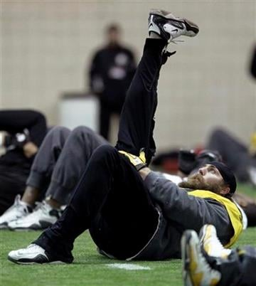 Pittsburgh Steelers defensive end Brett Keisel stretches during practice on Thursday, Feb. 3, 2011, in Fort Worth, Texas. The Steelers will play the Green Bay Packers in NFL football Super Bowl XLV Sunday, Feb. 6. (AP Photo/Mark Humphrey) By Mark Humphrey