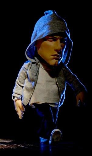 COMMERCIAL IMAGE - In this photo released by Brisk on Sunday, Feb. 6, 2011, Eminem is seen in puppet form for Brisk Iced Tea's Super Bowl TV spot shot  in San Francisco. (Brisk via AP Images) By Afton Spriggs