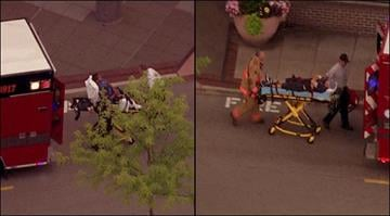 SkyZoom 4 was over the scene as two people were taken out of the Brentwood Whole Foods store on a stretcher. Their conditions were unknown. By Brendan Marks
