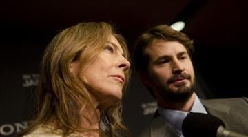 """WASHINGTON, DC - JANUARY 08: Kathryn Bigelow and Mark Boal speak with reporters at the Newseum during the """"Zero Dark Thirty"""" Washington D.C. Premiere on January 8, 2013 in Washington, D.C. (Photo by Kris Connor/Getty Images) By Eric Lorenz"""