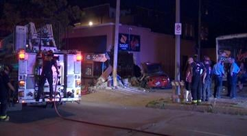 Police say a driver was transported to the hospital after crashing a stolen Chevrolet Corvette into a building near Lafayette Square early Wednesday morning. By Brendan Marks