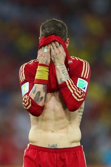 RIO DE JANEIRO, BRAZIL - JUNE 18: Sergio Ramos of Spain reacts during the 2014 FIFA World Cup Brazil Group B match between Spain and Chile at Maracana on June 18, 2014 in Rio de Janeiro, Brazil.  (Photo by Jamie Squire/Getty Images) By Jamie Squire