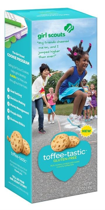 The Girls Scouts fo the USA announced on Jan. 5, 2015, three new varities of cookie for the 2015 season. The offerings include two new gluten-free offerings, Toffee-tastic and Trios, and a third cookie, Rah-Rah Rasins. By From Girl Scouts of the USA